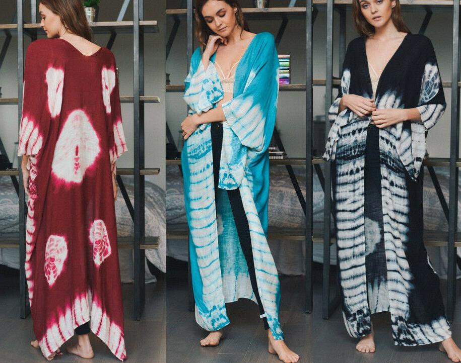 women s tie dye long maxi duster