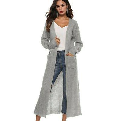Womens Duster Length Front Long Sleeve Coat US