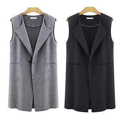 Womens Casual Sleeveless Lapel Duster Coat Suit
