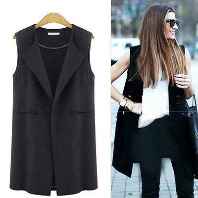 Womens Sleeveless Jacket Duster Suit