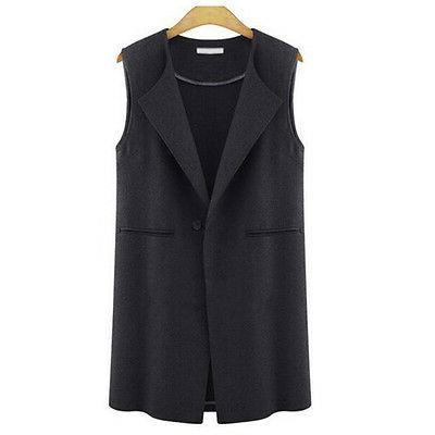 Womens Casual Vest Sleeveless Lapel Duster Suit