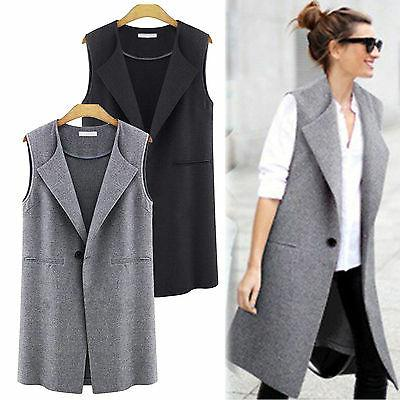 womens casual waistcoat vest sleeveless lapel cardigan