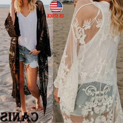 womens embroidered sheer lace kimono short sleeve