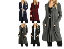 Ladies Loose Maxi Cardigan Sweater Knit Duster Pocket Open F