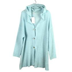 Soft  Surroundings Lessie Button Hooded Sweater Size 2X Blue