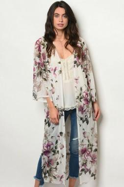 LIQUIDATING!!! GIBIU Cream Purple Floral Open Front Kimono D