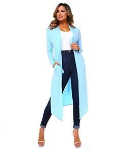 Isaac Liev Women's Long Cardigan with Side Slits & Pockets