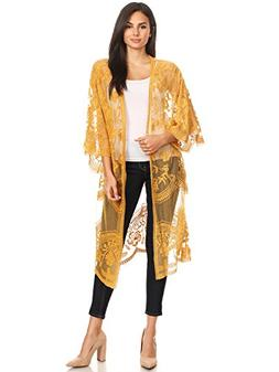 Anna-Kaci Womens Long Embroidered Lace Kimono Cardigan with