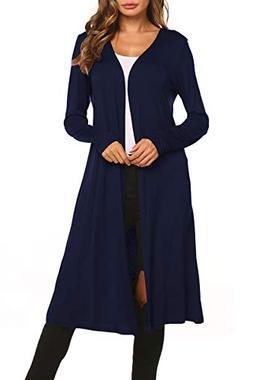 BLUETIME Women Long Open Front Maxi Duster Cardigans Long Sl