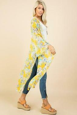Long Sheer Floral Duster Kimono in Yellow
