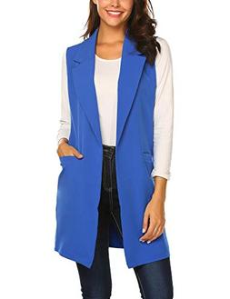 Showyoo Women's Long Sleeveless Duster Trench Vest Casual La