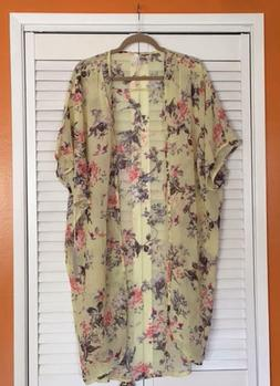 Medium/Large/ XL/1X Yellow Birds Baby Roses Kimono Jacket Du