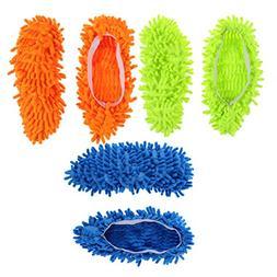 BESTOMZ 3 Pairs Microfiber Dust Mop Slippers Multi-Function