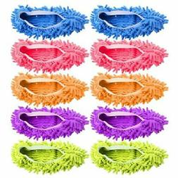 JIJIC 5 Pairs  Multi-Function Dust Duster Mop Slippers Shoes