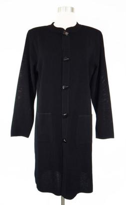 Misook NEW Black Ribbed Knit Long Duster Cardigan Sweater Ja