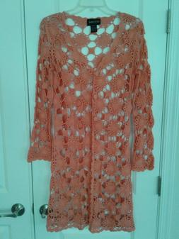 New Crochet Peach Cardigan Duster Topper - Size Small