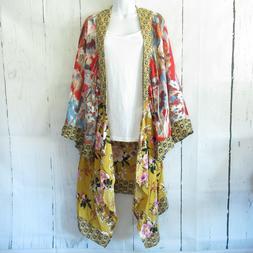 New Umgee Duster Kimono Cardigan 1X 2X Asian Floral Boho Pea