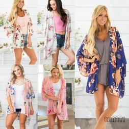 New Flowy Floral Kimono Cardigan Duster Long Wrap Shawl Boho