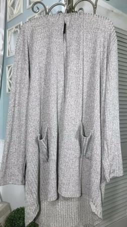 New~ Plus Size 1X Gray Hood Open Cardigan Ribbed Knit Duster