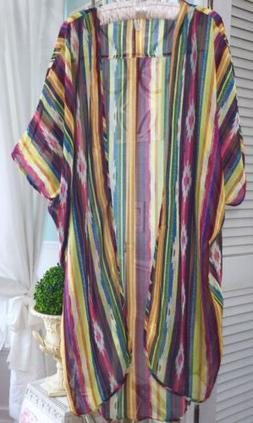 NEW Plus Size 2X 3X Red Gold Yellow Striped Boho Sheer Open