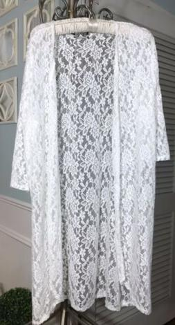 NEW Plus Size 3X Ivory Lace Open Duster Topper Jacket DT