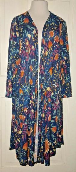 NEW LuLaRoe Sarah Long Cardigan Duster Blue Floral Sz XL
