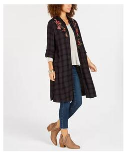 NEW Style & Co Women's Flower-Embroidered Plaid Completer Sh