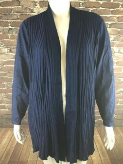 NEW NY Collection Womans Blue Ribbed Long Sleeves Cardigan D