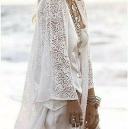 New Women's Lace Fringe Hem Kimono Duster Maxi Boho White To