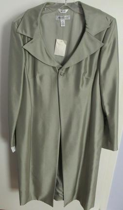 NWT Kay Unger 100% Silk Long Sage Green Open Front One Butto