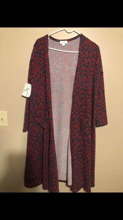 NWT Lularoe Blue Red Floral Sarah Duster Sweater Size Large