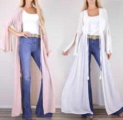 NWT Boho Bell Sleeve Crochet Kimono Cardigan Long Full Maxi