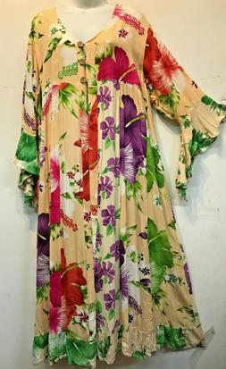 Nwt FUNKY STUFF floral patch rayon ROBE TOP DUSTER COVERUP 3