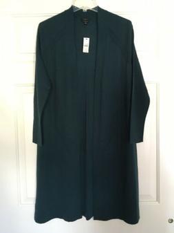 NWT Talbots Pure Merino Wool Duster Cardigan - Greenish Blue