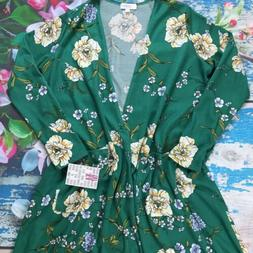 NWT LuLaRoe Sarah Duster Cardigan Green And Yellow Floral Si