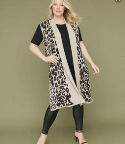 NWT Women's Lane Bryant Leopard Print Long Duster Sleeveless