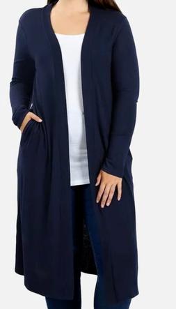 NWT Women's Navy Blue Duster Cardigan Sweater w/ Side Pocket