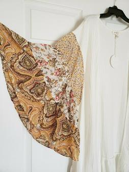 Umgee Plus Boho Bell Sleeve Ruffle Kimono Cardigan Duster Iv