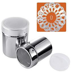 Powder Sugar Shaker with Lid 250 ML// 8.5 OZ 16 Pcs Coffee Stencils Template /& Clip SOSMAR 18//8 Stainless Steel Cocoa Cinnamon Mesh Sifter//Sprinkler//Dredgers for Coffee Cappuccino Latte