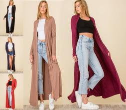 Premium Jersey Knit Duster Cardigan Maxi Full Length Long Sl