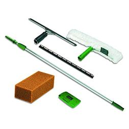 Unger PWK00 Pro Window Cleaning Kit w/8ft Pole, Scrubber, Sq