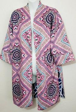 Reversible Chico's 3/4 Sleeve Open Front  Jacket Kimono Wome