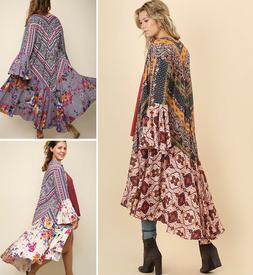 UMGEE Maxi Kimono Cardigan Duster Open Front Boho Bell Sleev