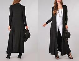 Women's Maxi Cardigan Sweater Duster Long Sleeves Open Front