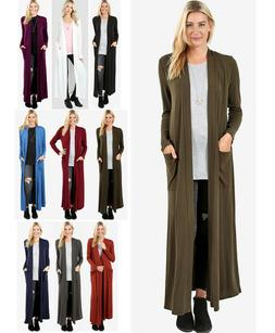 Women's Full Length Maxi Cardigan Duster Open Front Sweater
