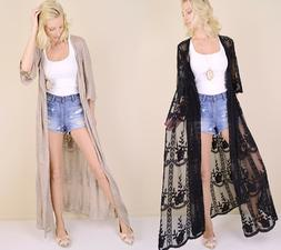 Women's Embroidered Sheer Lace Kimono Sleeve Long Duster Car