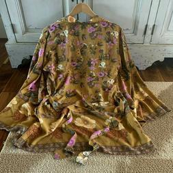 L New Boho Floral Kimono Belted Kimono Tunic Top Vtg 70s Ins