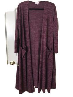 LuLaRoe Sarah cardigan Cranberry Heathered sweater long pock