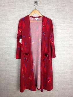 LuLaRoe Sarah Cardigan Sweater Red Multicolor Open Long Dust