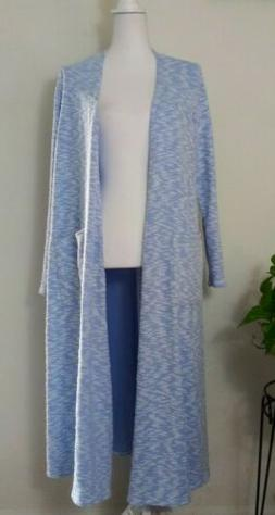 LuLaRoe Sarah Duster Cardigan Heathered Textured Light Blue